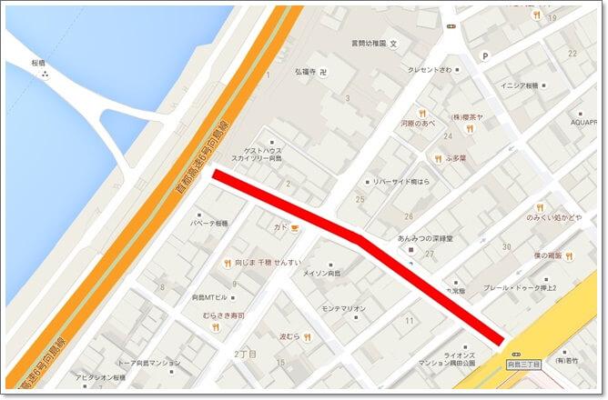 向島2丁目から3丁目の路地が穴場